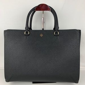 New Tory Burch Large Robinson Black Leather Tote
